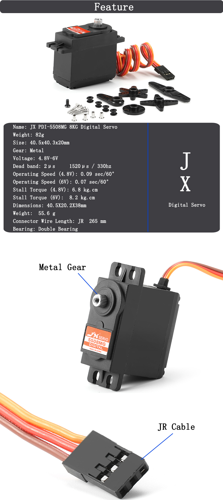 JX PDI-5508MG 8KG Large Torque Metal Gear Digital Servo For RC Helicopter
