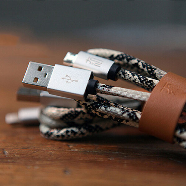 MaoXin Ichiban Original Snake Print Leather 2.4A Micro USB Charge Data Cable For Xiaomi Huawei UMI