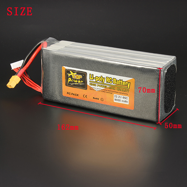 ZOP POWER 22.2V 9000mAh 6S 65C Lipo Battery XT60 Plug