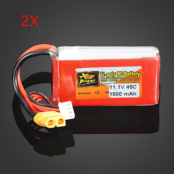 2 x ZOP Power 11.1V 1500mAh 3S 45C Lipo Battery XT60 Plug