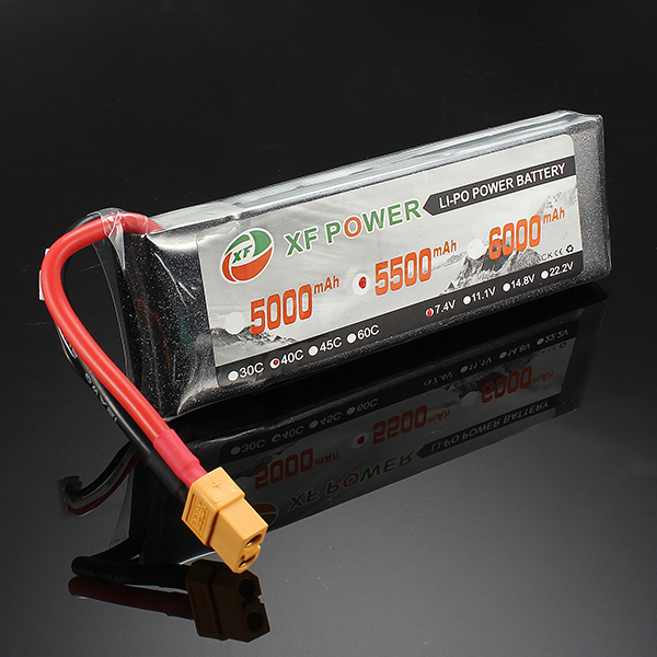 XF Power 7.4V 5500mAh 40C 2S Lipo Battery XT60 Plug