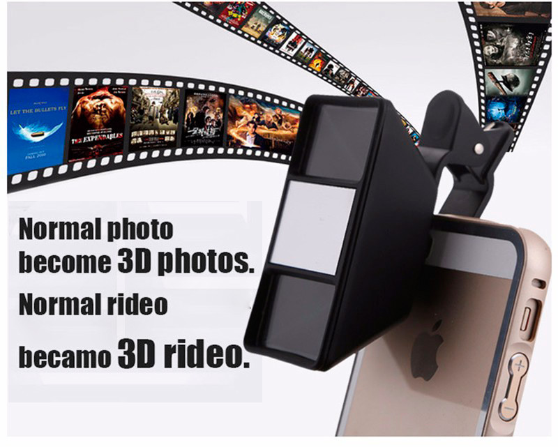 Universal 3D Fisheye Lens Phone Camera Stereo Lens With Clip For iPhone Samsung Xiaomi