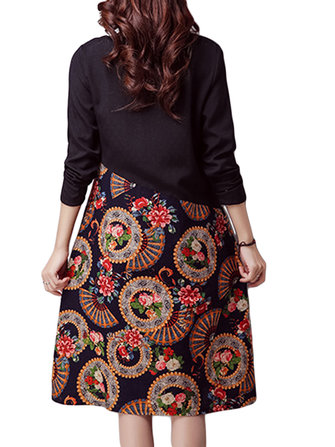 Folk Style Elegant Women Floral Printed Patchwork Cotton Linen Dress
