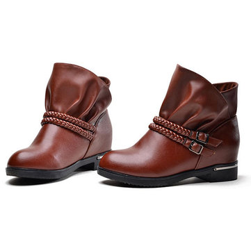 Women Casual Winter Boots Leather Ankle Short Boots Increased Short Boots