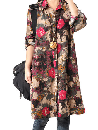 Folk Style Loose Women Lapel Button Floral Printed Cotton Linen Dress