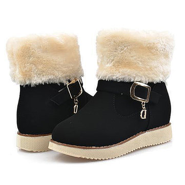 Girls Winter Shoes Kids Warm Ankle Boots Nubuck Leather Snow Boots Cotton Snow Increased Shoes