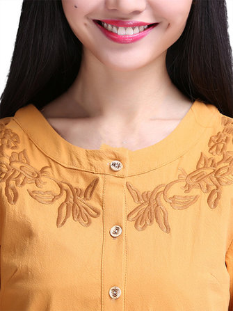 Vintage Elegant Women Solid Embroidery Button Pleated Dress