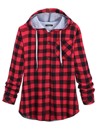 Plus Size Casual Plaid Long Sleeve Hood Jacket