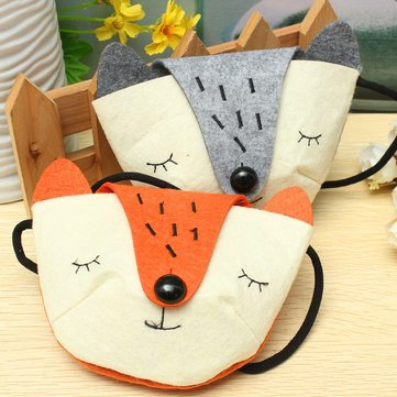 Children Practical Shoulder Messenger Mini Cute Fox Felt Fabric Coins Keys Crossbody Handbag Purse
