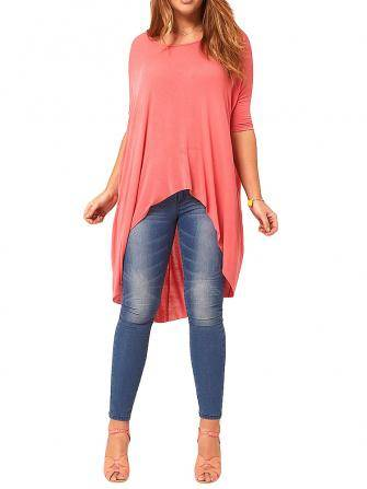 Asymmetrical Casual Loose Black Pink Half Sleeve Women T-Shirt