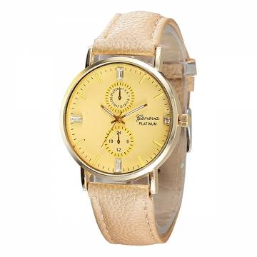 Casual Simple PU Leather Band Analog Women Wrist Watch